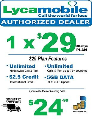 Lycamobile Triple Cut Sim Card Preloaded With $29 Plan 5GB Data With Tracking #