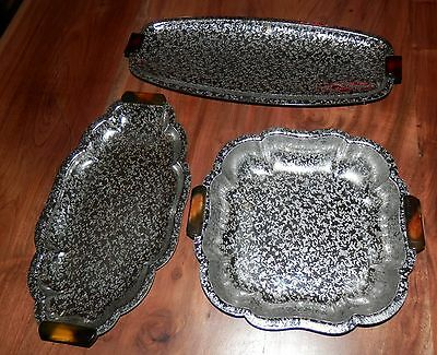 Three Vintage Glo Hill Serving Trays With Filigree Finish