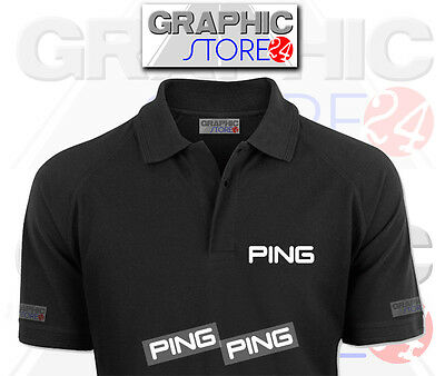 2x PING Golf Iron on Clothing Decals