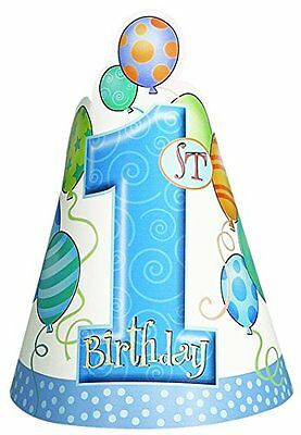 Blue Balloons 1st Birthday Party Hats, Pack of 8