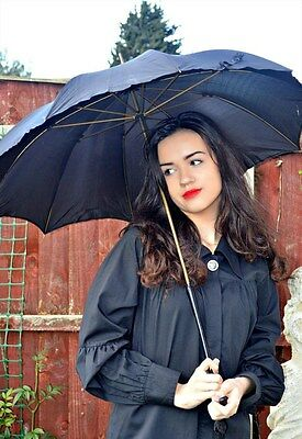 Women's/ladies Vintage Clothes, Black Victorian/edwardian Antique Umbrella