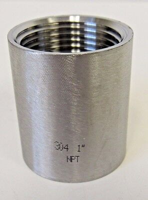 """New 1"""" FNPT Straight Coupling 304 Stainless Steel Class 150"""