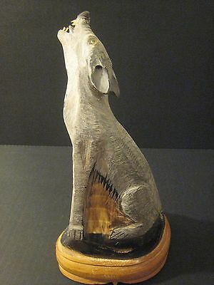 Hand Carved Coyote Howling Wood Animal Hard Statue Mint Vintage Figurine