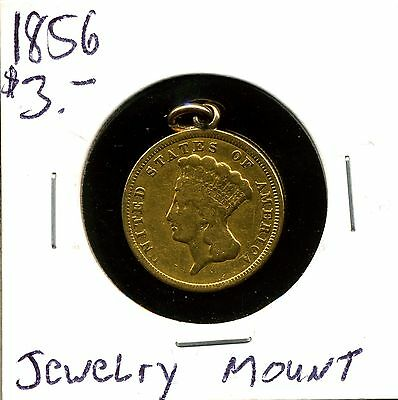 1856 G$3 Indian Princess Gold Three Dollar in Circulated Condition/Jewelry Mount
