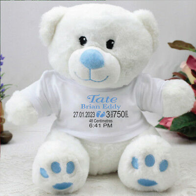 Personalised Birth Details Bear - Blue - Add a Name & Message