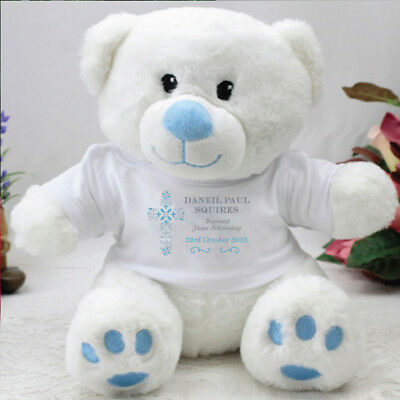 Personalised Baptism Blue Teddy Bear - Cross - Add a Name & Message