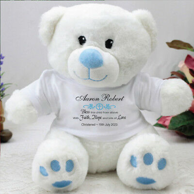 Personalised Christening Blue Teddy Bear - Verse - Add a Name & Message