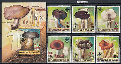 XG-AL160 GUINEA - Mushrooms, 1985 Nature, Overprinted Set And MNH Sheet