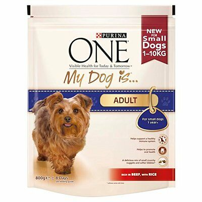 Purina One My Dog is Adult Dry Dog Food Beef and Rice, 800 g - Pack of 4