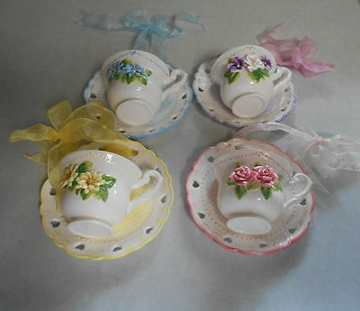 Cup & Saucer Wall Pockets Shabby Chic Cottage