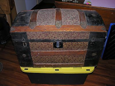 Antique 1800s Dome Top EMBOSSED Tin Steamer Trunk Chest ORNATE Victorian