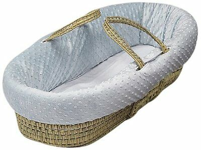 Baby Doll Bedding  Heavenly Soft Doll Moses Basket Set Blue NEW