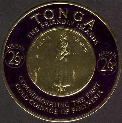 Tonga 1963 SG140 2/9d Airmail Stamp of Gold Coinage of Polynesia MNH