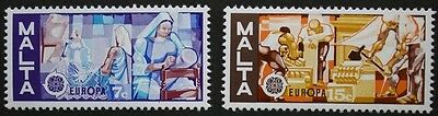 Europa stamps, lace making, stone carving, Malta, 1976, SG ref: 562 & 563, MNH