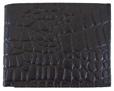 Mens Genuine Leather Bifold Alligator Skin Print Wallet Black Brand New Gift