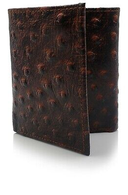 New Ostrich Imprint Mens Trifold Leather Wallet Credit Card Slot Window ID Brown