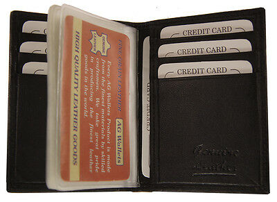 Mens Front Pocket Leather Slim Multi Credit Card Plastic Insert Bifold Wallet Bk
