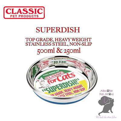 Classic SUPERDISH & SHALLOW FEEDER Stainless Steel Non-Slip Durable Dog Cat Bowl