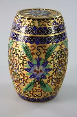 Chinese Vintage Cloisonne Lidded Box With Floral Depiction