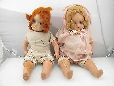 """Lot of 2 Antique Horsman Composition Baby Dolls 18"""" w / Nightgown"""