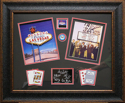 Rat Pack Photo with Ceramic Las Vegas Sign, Collage Framed