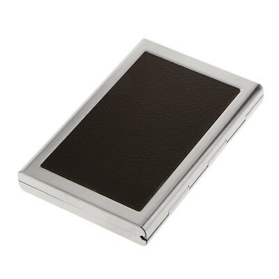 Stainless Steel Business ID Credit Card Holder Storage Case Wallet - Coffee