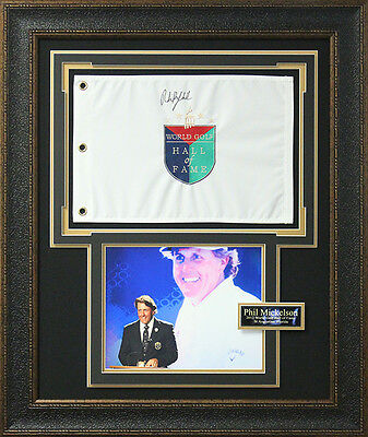 Phil Mickelson Signed World Golf Hall Fame Flag Display.