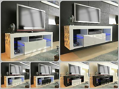 NEW 2017! Superb TV Stand Unit Cabinet 130cm + Floating / Standing + Gloss + LED