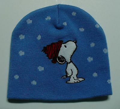 Snoopy Beanie Hat Toque Knitted Blue Snowflake Embroidered Applique Peanuts Gang