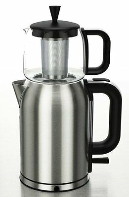 GOLDA INC. Stainless Steel Turkish Tea Maker, Samovar, with Boil Dry Protection