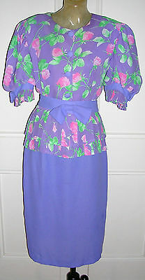 VINTAGE 80s MAUVE/PINK CREPE BLOOMING ROSES PEPLUM SUIT by DISCOVERY GOLD /SZ:12