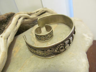 Vintage India? silver tribal Cuff  LETTERS bracelet and Ring set Mantra Yoga?