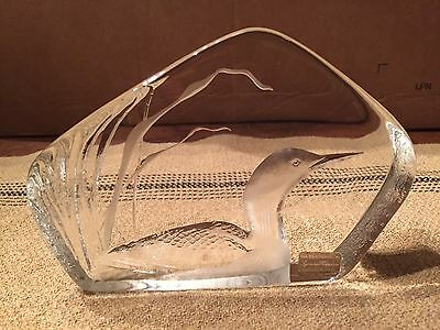Vintage Signed Lead Crystal Duck Paperweight Mats Jonasson Sweden