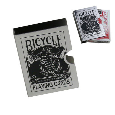 Metal Bicycle Playing Card Clip Deck Protector Case Trick Magic Predict - Tiger