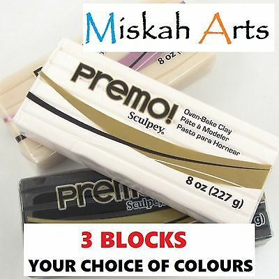 Sculpey PREMO - Polymer Clay - THREE x 227g BLOCKS  - Your Choice of 3 Colours
