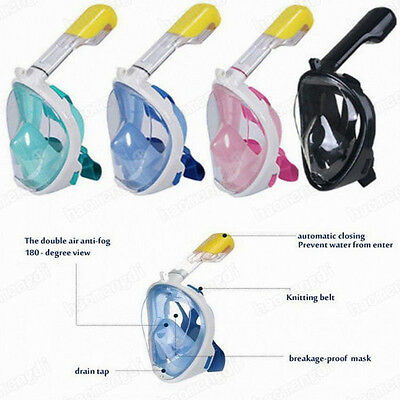 180° Full Face Snorkel Mask Surface Diving Swimming Underwater Sports