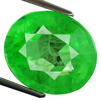 13.90 ct Lab-created COLUMBIAN EMERALD CHATHUM OVAL INDUCED INCLUSION 12.5 x 15