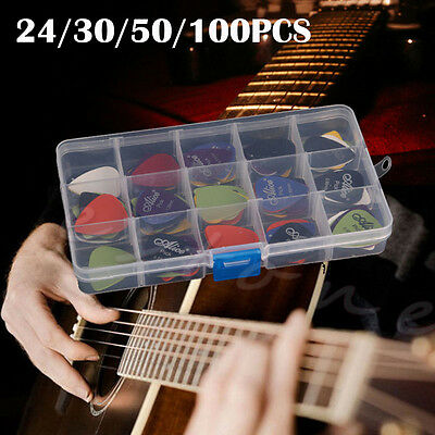 24/30/50/100x Acoustic Electric Guitar Picks Plectrum Various thickness+Pick Box