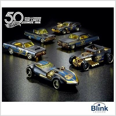 Hot Wheels 1:64 Black & Gold 50th Anniversary Series Complete Set (6)