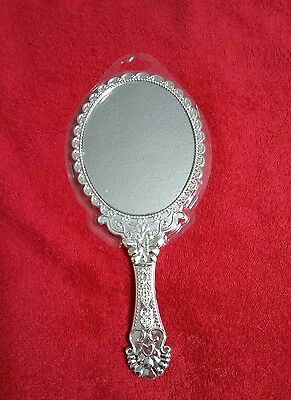 Vintage Style Silver VANITY MIRROR_Handheld,Princess Parties,Girls,Makeup NEW