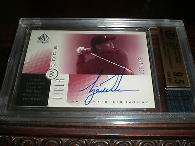 2001 Ud Sp Tiger Woods Sign Of The Times Red Auto 29/273 W Shirt Bgs Mint 9.5