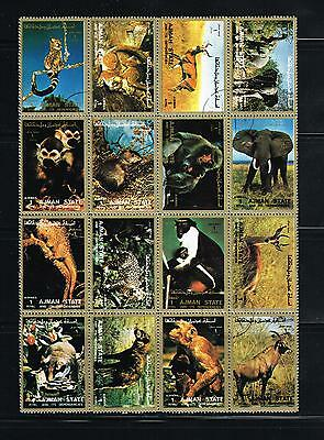 Ajman stamps - block of 16 different used NH Animals