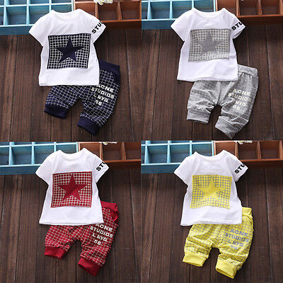 Toddler Baby Boy Kid Girls Clothes Sportswear T-shirt Top Pants Outfit Sets BAO