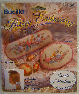 "Bucilla Ribbon Embroidery"" Floral Fantasy"" Barrette & Brooch Kit NEW NeedleCraft"
