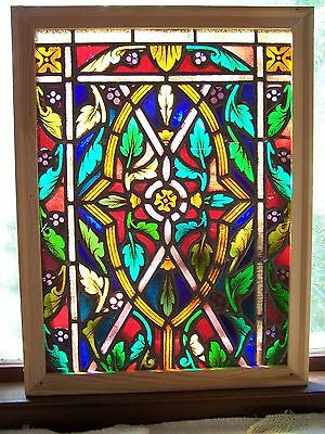 Antique English Leaded Stained Glass Window In Wood Frame