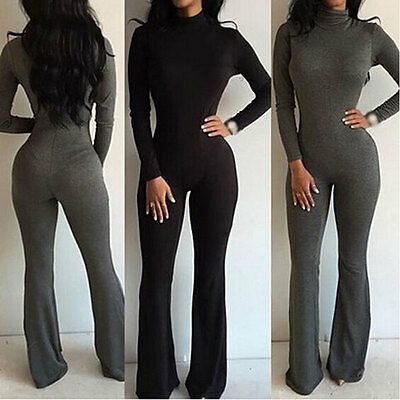 US STOCK Women Long Sleeve Clubwear Playsuit Party Jumpsuit&Romper Long Trousers