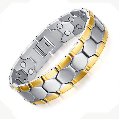 18K Gold Magnets Natural Pain Relief Link Wristbands Bracelet For Men