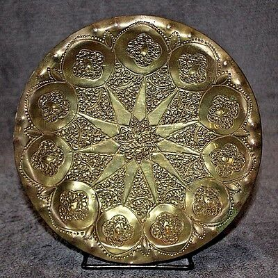 Hand Hammered Signed FA Antique Vtg Brass Plate Tray Star Floral Art Designs