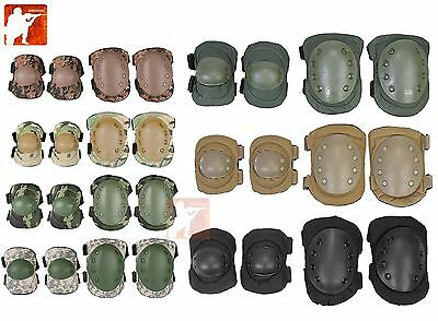 Military Tactical Quick Release TPU Elbow & Knee Pads Set Airsoft Combat Army