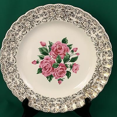 Sebring Pottery China Bouquet Dinner Plate Gold Pink Roses 9 3/4 In 1KS518